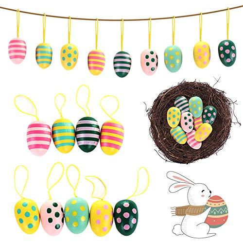 Huevos de Pascua CHEPL 9 Piezas Huevo de Pascua de Madera Huevo de Artificial Colgante Adecuado Para la Decoración de Vacaciones de Pascua Decoración del Jardín de la Habitación