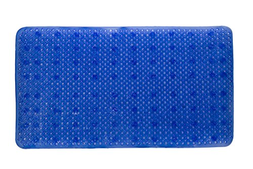 YHLCSQ Soft As Grass Bath Mats Shower and Tub Mat Foot Scrubber Non-Slip Machine Washable PVC Suction Rectangle 25x14 inch (Blue)