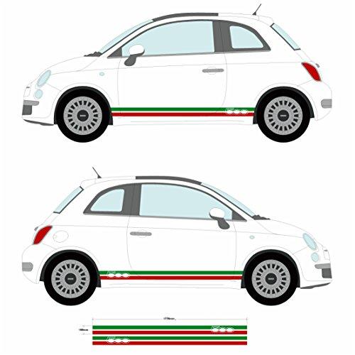 FIAT – Pegatinas laterales de vinilo para coche con diseño de franjas de la bandera italiana (SS20003)