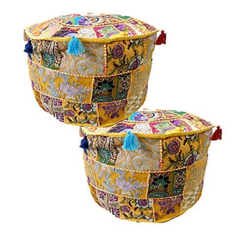 iinfinize - Juego de 2 fundas de puf indio, estilo vintage, puf de algodón, cojín de suelo, puf Khambadiya patchwork, funda de puf otomano, manta redonda marroquí, hippie, bohemio, bohemio.