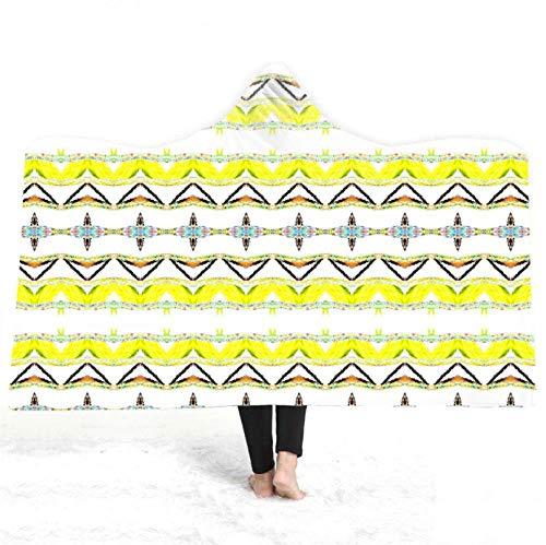 PANDAWDD capuchondeken mantel Noors abstract bont geometrisch tv-deken met capuchon voor volwassenen mannen 3D grappig draagbare deken fleece deken 150X200 cm