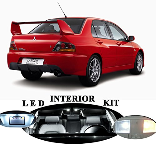 LED lights for Mitsubishi Lancer Evo 8 9 Xenon White LED Package Upgrade - Interior + License plate / Tag (9 pieces)