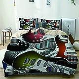 KOSALAER Parure de lit avec Housse de Couette en Microfibre,Fond de Guitares électriques,Housse de Couette 200cm x 200cm avec 2 taies