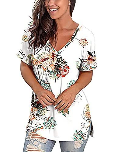 Camiseta de verano para mujer, parte superior de manga corta, estilo vintage, con cuello en V, degradado de color A flor blanca. XXL