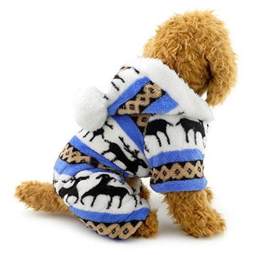 Ranphy Ropa de perro pequeño gato para niño niña suave terciopelo patrón de reno perro Pijamas...