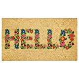 mDesign praktische Schmutzfangmatte – dekorative Fußmatte aus Kokosfaser mit Blumen-Muster – natürliche Kokosmatte mit Schriftzug für außen und innen – braun und bunt