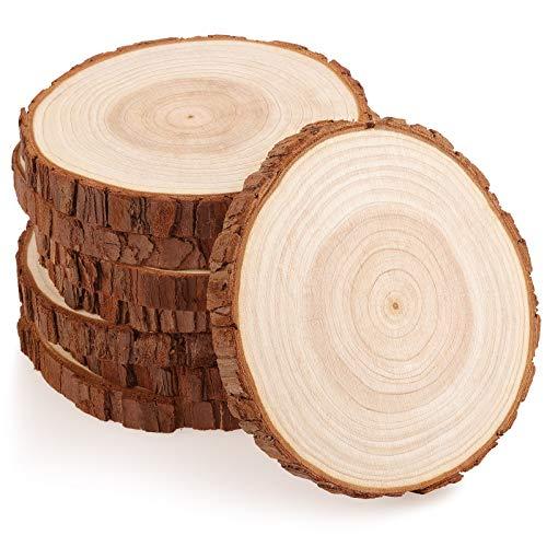 Fuyit Rondin de Bois 14-15cm sans Trou 8 Pcs Tranches de Bois Naturel Convient pour Decoration Noel Bois, Marque Place Mariage, Pyrograveur Bois