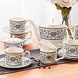 liushop Taza de café Exquisita Hueso China Taza de café y platillo Set de té de la Tarde de la Tarde Copa de té de cerámica Taza de té Negro Taza de café con asa
