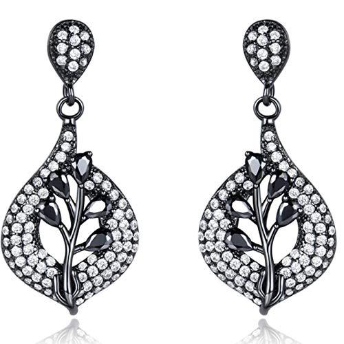 XIRENZHANG Pendientes de plata de ley S925 para mujer, con colgante de piedra preciosa verde nano y diamante, color negro