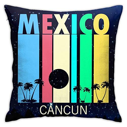 Traveler Shop Funda de Almohada Retro Cancún México Funda de cojín Cuadrada Sofá casero Decorativo 18 x 18 Pulgadas