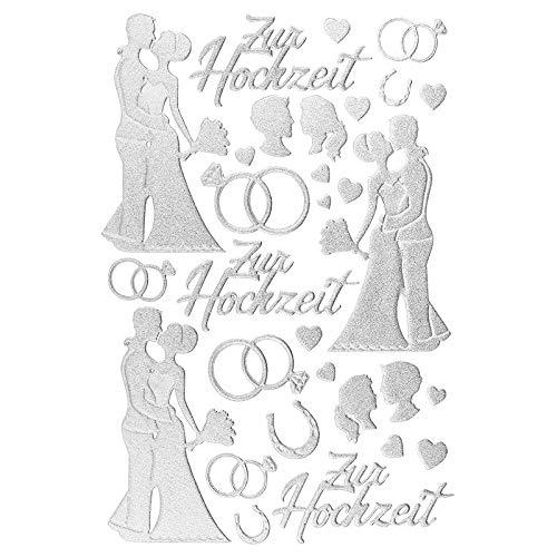 Ideen mit Herz 3-D Sticker Deluxe, zur Hochzeit, Verschiedene Hochzeitsmotive, erhabene Aufkleber, Bogengröße: 21 x 30 cm (Silber)