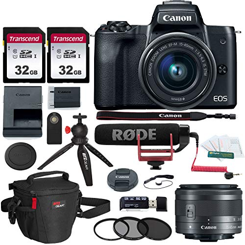 Canon EOS M50 15-45mm f//3.5-6.3 is STM Mirrorless Digital Camera Bundle Mic Filter Kit /& More Camera Bag Compact Monopod Canon 2680C011 Includes 64GB U3 Video Memory Card