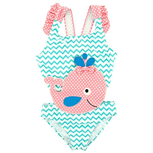 Baywell Baby Mädchen Badeanzug, Kinder Badeanzug Bademode Whale Bestickt Badeanzug (3-4 Jahre / 98CM)