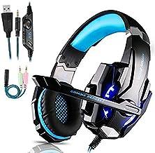 Auriculares Gaming PS4,Cascos Gaming de Mac Estéreo con Micrófono Cascos Gaming 3.5mm Jack con Luz LED Bass Surround y Can...