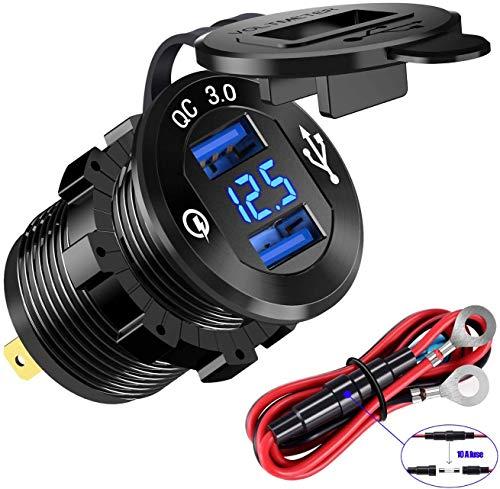 YSF Quick Charge 3.0 Dual USB cargador socket, toma de corriente de aluminio resistente al agua, carga rápida con voltímetro LED y fusible de alambre, kit de bricolaje para coche, barco, barco, camión, barco, camión, etc.