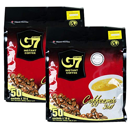 Trung Nguyen - G7 3 In 1 Instant Coffee - 50 Sachets (2 Pack - 100 sachets)   Roasted Ground Coffee Blend with Creamer and Sugar, Suitable for Most Coffee Brewing Methods, (16gr/sachet)