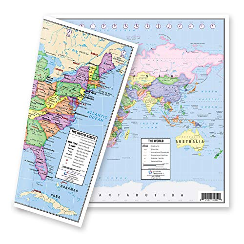 """US and World Desk Map (13"""" x 18"""" Laminated) for Students, Home or Classroom Use by Lighthouse Geographics"""