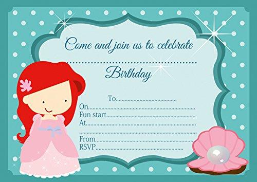 10 x Ariel La Petite Sirène enfants Invitations Fête d'anniversaire
