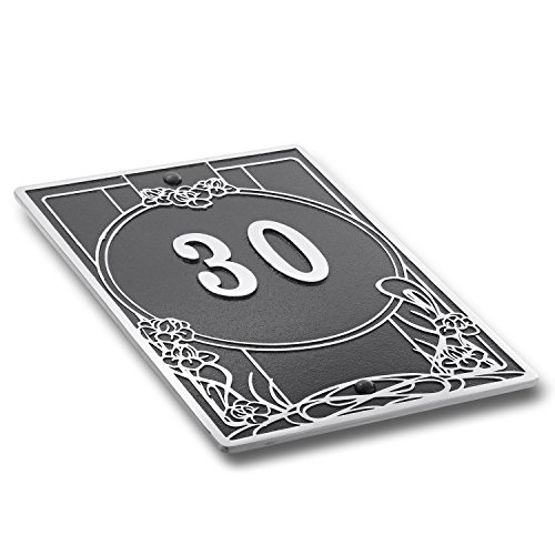 Plaque d'immatriculation de maison Art nouveau en métal Plaque d'adresse traditionnelle en métal moulé d'aluminium avec options de chiffres et de lettres. Noir ou 6 choix. 3 chiffres maximum.