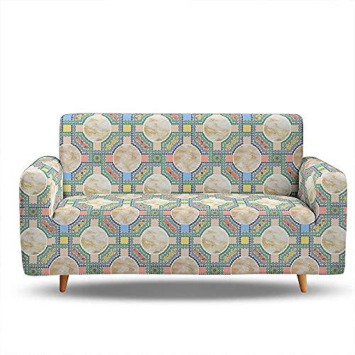 WLVG Fundas para sofá de 1 2 3 4 plazas, diseño geométrico de mármol, funda elástica en forma de L, para sofá, cama, perro, gato, 90 – 140 cm