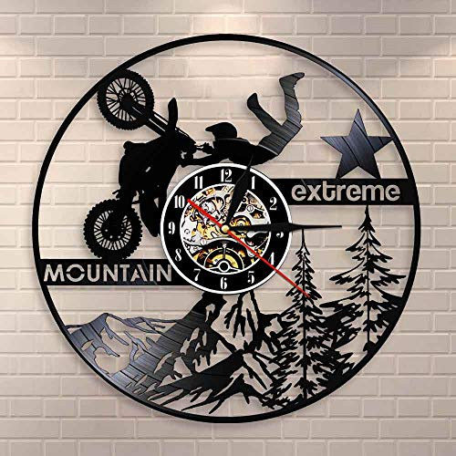Alpine Extreme Sports Lighting LED Lustre Motorsport Exclusive Vinyl Record Horloge murale Moto Dirt Bike Watch