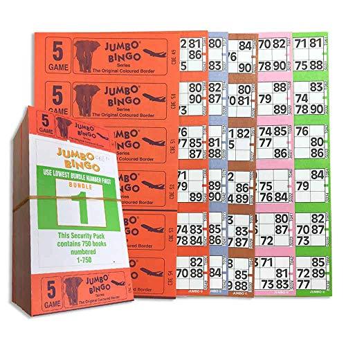 Jumbo Bingo Ticket Libretti, 6 per Visualizzare, 5 Gioco