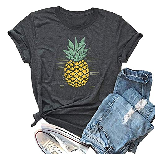 IRISGOD Womens Pineapple Shirt Cute Graphics Tees Summer Vacation Short Sleeve Cotton Aloha T Shirt Dark Gray