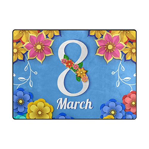 """My Little Nest Area Rug Floral 8 March Happy Women's Day Lightweight Non-Slip Soft Mat 4'10"""" x 6'8"""", Memory Sponge Indoor Outdoor Decor Carpet for Living Dining Room Bedroom Office Kitchen"""