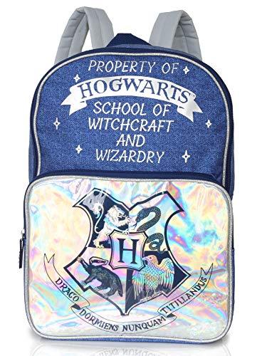 Harry Potter kinderrugzak | dames grote blauwe en zilveren Hogwarts rugzak voor vrouwen, tieners, kinderen | denim stijl print | ruime rugzak voor school, werk, pendelen, reizen