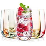 MITBAK 13- OZ Colored Highball Glasses (Set of 6) | Lead Free Drinking Glasses Tumblers...