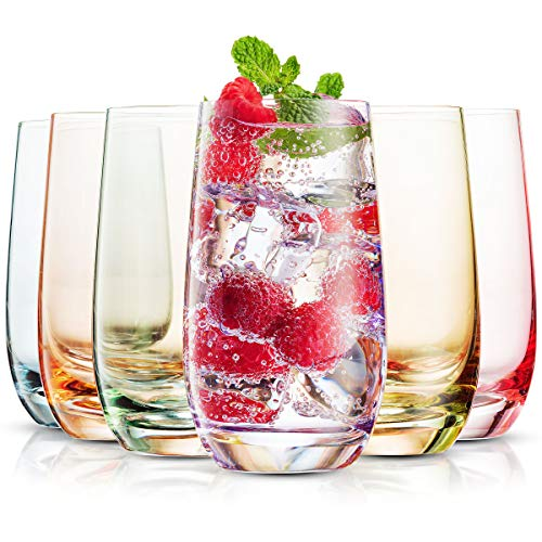 MITBAK 13- OZ Colored Highball Glasses (Set of 6) | Lead Free Drinking Glasses Tumblers for Mixed...