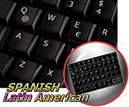 SPANISH (LATIN AMERICAN) NON-TRANSPARENT KEYBOARD STICKER ON BLACK BACKGROUND FOR DESKTOP, LAPTOP AND NOTEBOOK