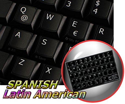 Spanish (Latin American) Non-Transparent Keyboard Sticker for Laptop, Desktop with White Lettering and Black Background