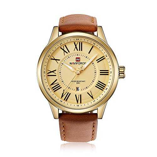 NAVIFORCE Herren Uhren Quarz Leuchtender Beiläufiger Mann Armbanduhr