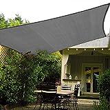 Patio Shack Toldo Vela de Sombra Rectangular 3x5 m, HDPE Transpirable y Protección Rayos UV para Exterior, Jardín, Terrazas Grafito
