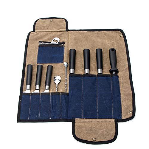Borsa arrotolabile per coltelli da chef, in tela cerata, resistente, con tracolla regolabile e 10 scomparti, borsa per attrezzi da cuoco, per viaggi, campeggio, barbecue cachi