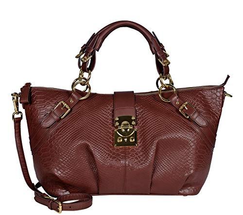 SILVIO TOSSI Damen Lederhandtasche Schultertasche Whisky Modell 11024-15