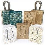 Arteza Bolsas de regalo | 24 x 17.8 x 8.6 cm | Set de 15 bolsas | 6 de papel kraft + 6 blancas + 3 azules | Diseños originales de láminas metálicas | para regalos y fiestas de cumpleaños