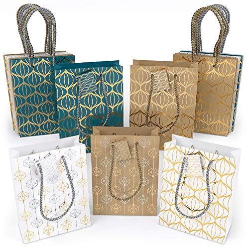 ARTEZA Bolsas de regalo | 24 x 17.8 x 8.6 cm | Set de 15 bolsas | 6 de papel kraft + 6 blancas + 3 azules | Diseños originales de láminas metálicas | Ideales para regalos y fiestas de cumpleaños