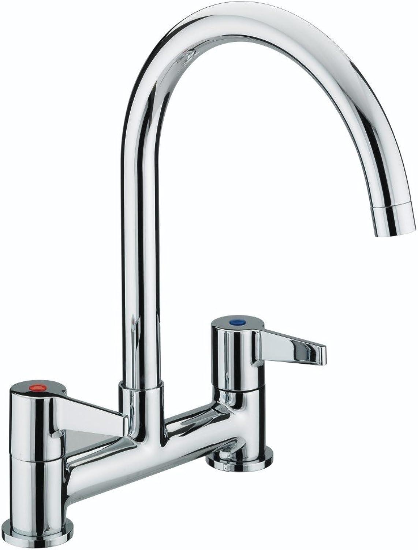 Bristan DUL DSM C Design Utility Lever Deck Kitchen Sink Mixer Tap with Swivel Spout, Chrome