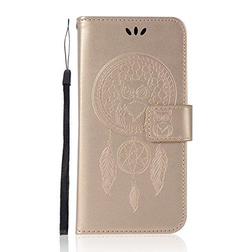 Sunrive Hülle Für BlackBerry DTEK50 / Alcatel Idol 4, Magnetisch Schaltfläche Ledertasche Schutzhülle Hülle Handyhülle Schalen Handy Tasche Lederhülle(Goldene Eule)