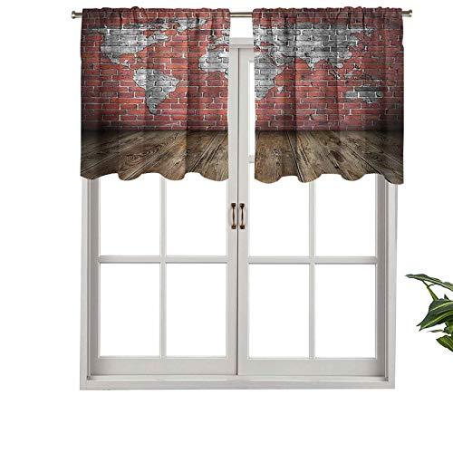 Hiiiman - Cortina para ventanas de privacidad para interiores, diseño rústico de grunge, juego de 1, 91,4 x 45,7 cm para puertas correderas de patio o comedor