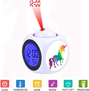 LCD Digital LED Display Projection Alarm Clock Talking with Voice Thermometer Function Desktop Cool Rainbow Watercolor Unicorn Pretty Kids Fun