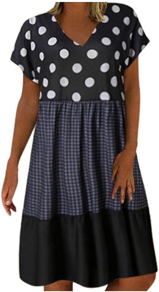 KYLEON Women Summer Short Sleeve Polka Dot Printed Mini Short Sundress A Line Casual Loose Boho Beach Tunic T Shirt Dress
