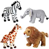 Safari Animals Stuffed Animals – Jungle Animals Toys Set of 4 Wild Animals – Lion, Elephant, Zebra and Giraffe Stuffed Animal – Soft, Squeezable and Lifelike Toys for Kids