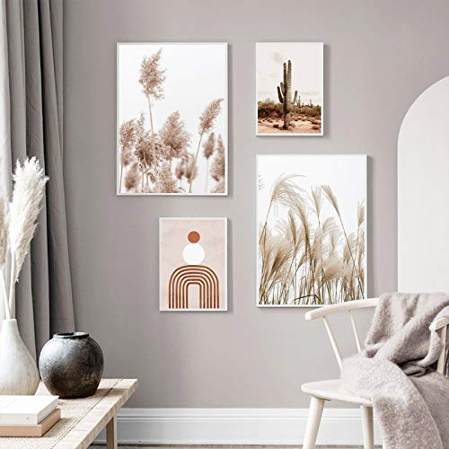 WEDSA Cactus Print Reed Flower Poster Sun Boho Wall Art Posters Pintura Abstracta Naturaleza nórdica Imagen Decorativa Decoración del hogar Decoración de Regalo Pintura artística 50x70cmx4 Sin Marco
