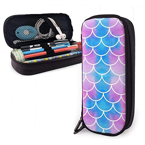 Blue Red Scale PU Leather Pencil Case,Durable Students Stationery Organizers with Double Zipper for School Office 1.5inx3.5x8 in