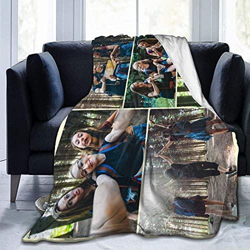 Manta personalizada con texto de fotos personalizado manta para adultos niño madre padre, collage de fotos, 80 x 60 pulgadas
