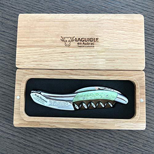 Laguiole en Aubrac Sommelier Waiter's Corkscrew Camel Bone, Green