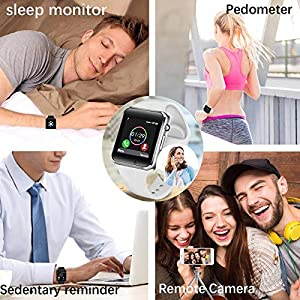 Smart Watch Compatible Samsung Android iOS for Women Men Kids, Wzpiss Bluetooth Smartwatch Touchscreen Wrist Watch Fitness Tracker with Camera Pedometer SIM SD Card Slot (White)